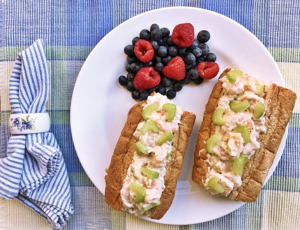 summer eats - shrimp salad - shrimp salad sandwich - summer sandwich - seafood sandwich - seafood salad