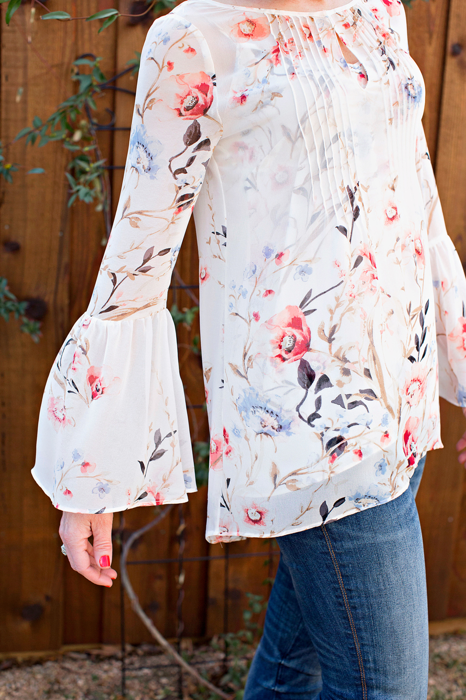 floral tops for spring, bell sleeve top, spring floral top, white house black market floral top, gauzy floral top