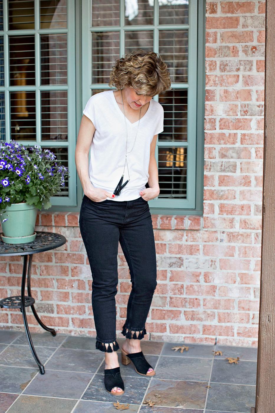 black and white, white shirt, black tassel jeans, black toms mules, whbm white shirt, white jetsetter tee, whbm jetsetter tee, white house black market jetsetter tee