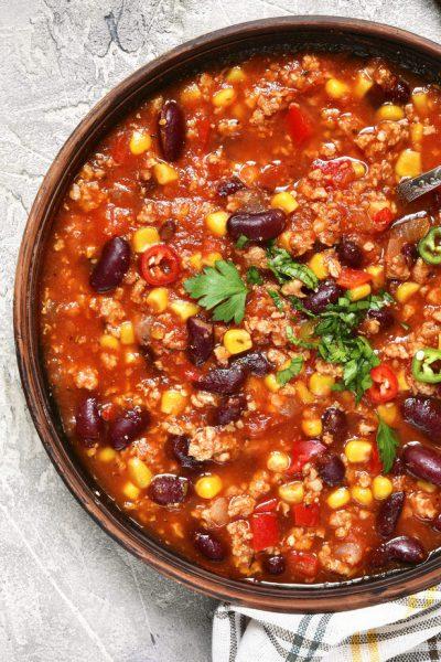 bowl of chili on white background