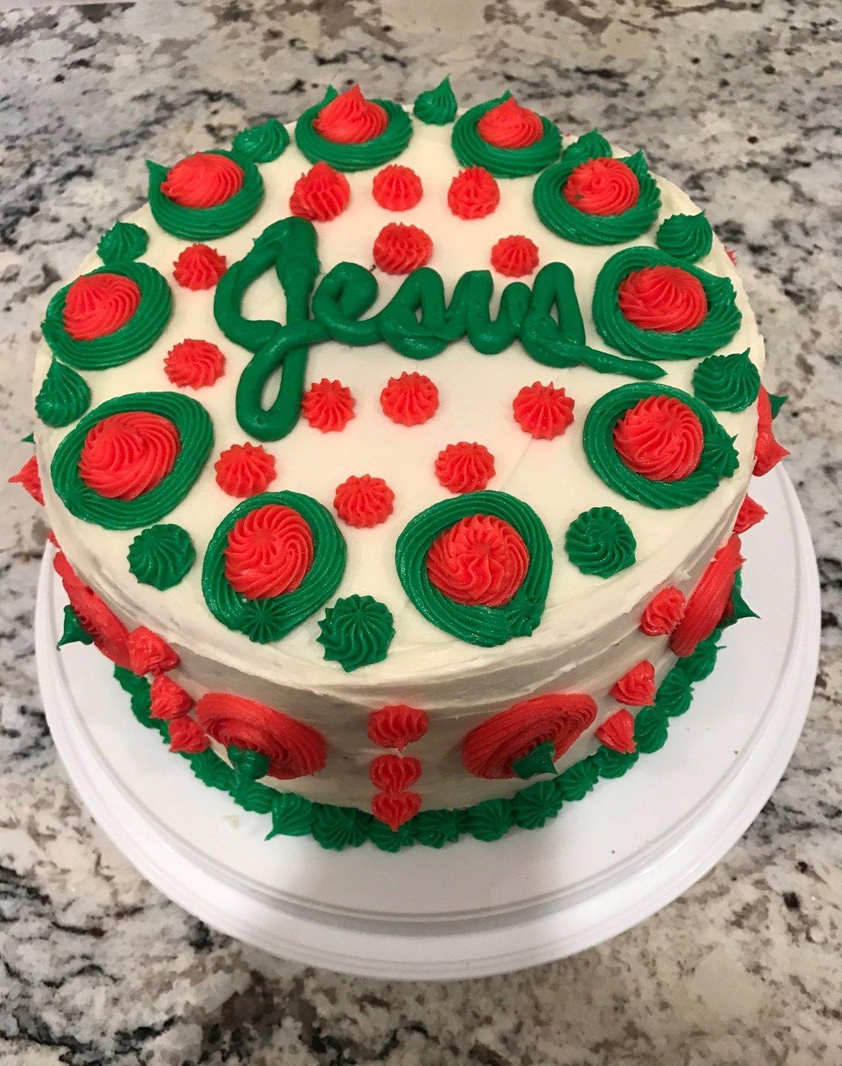decorated birthday cake for jesus