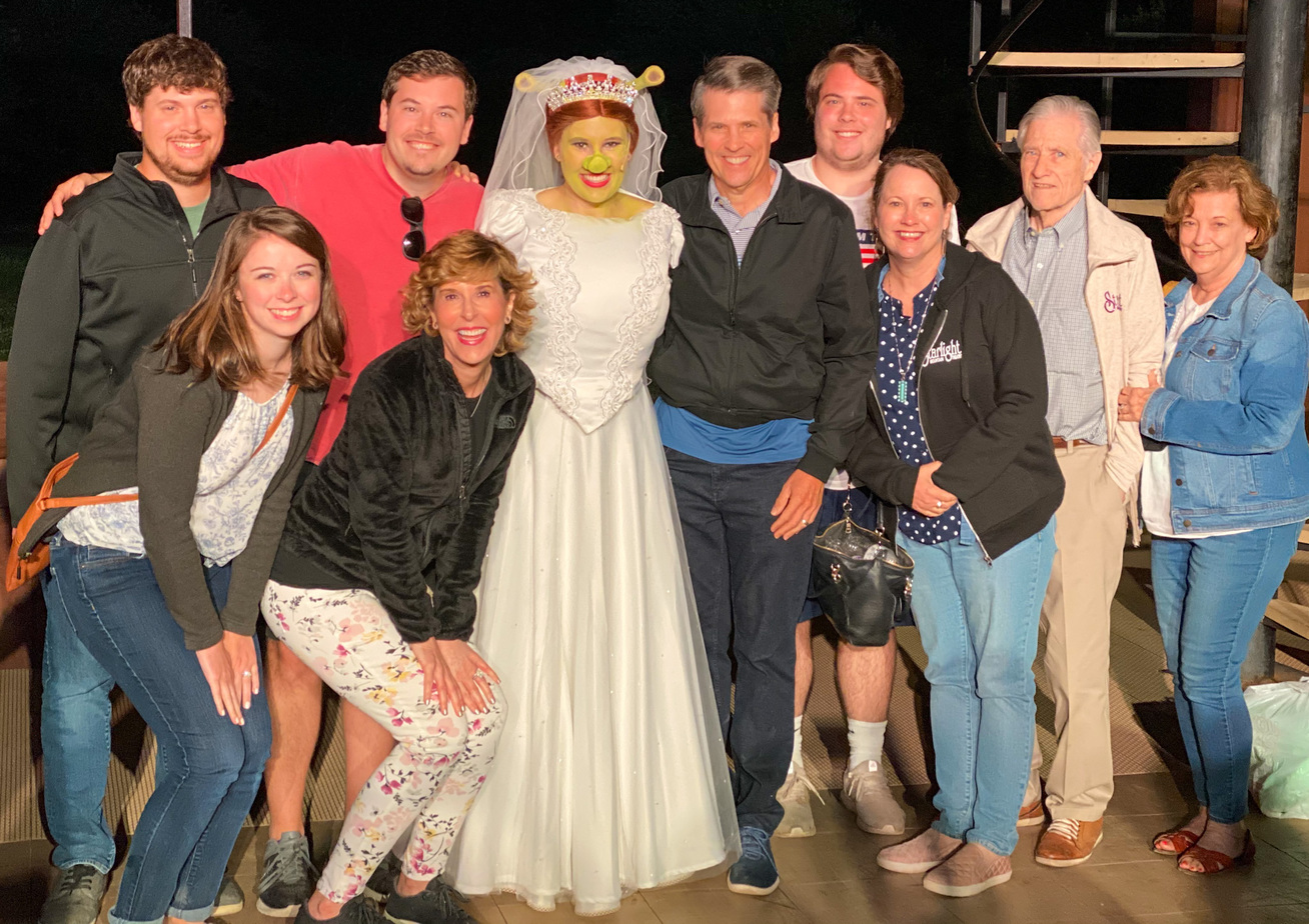 group of people gathered around fiona from shrek at starlight mountain theatre in garden valley idaho