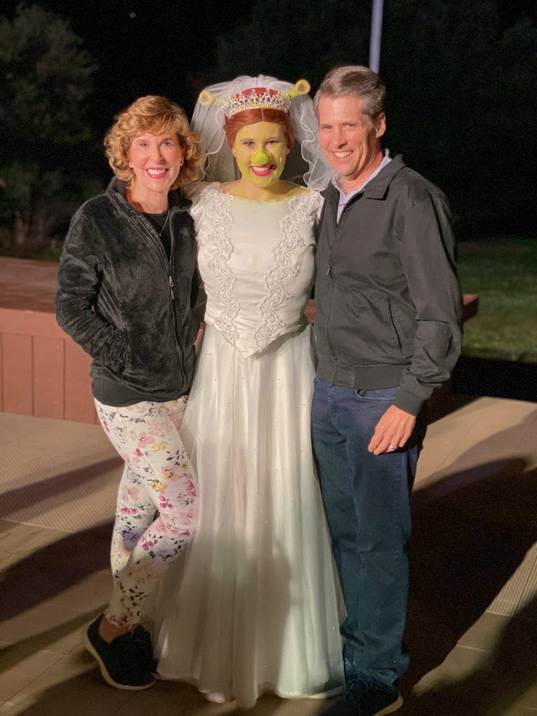 woman and man on either side of fiona from shrek at starlight mountain theatre in garden valley idaho