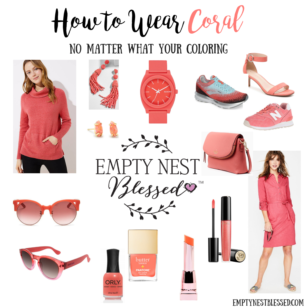 collage of fashion and beauty items in living coral