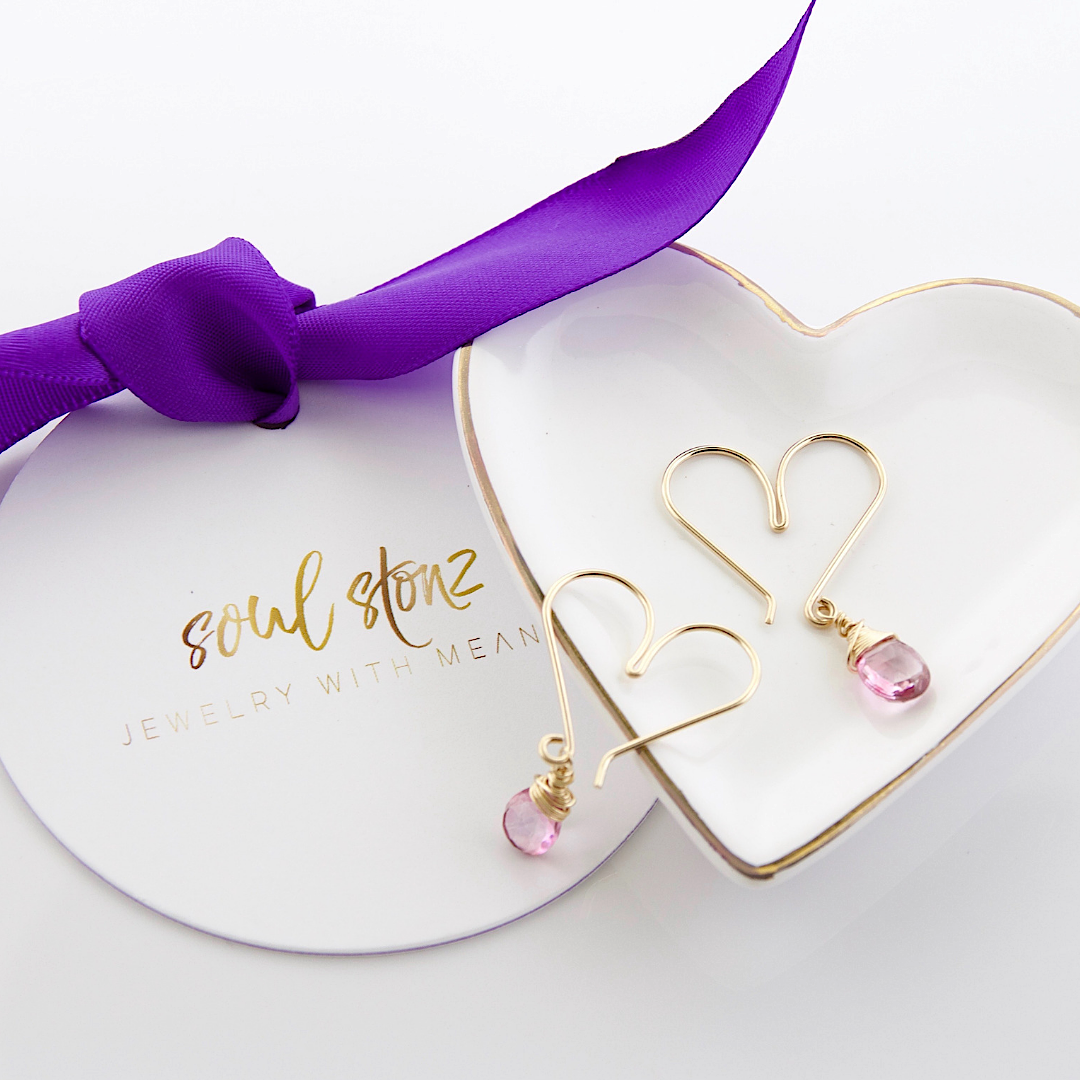 heart hoop earrings with pink gems