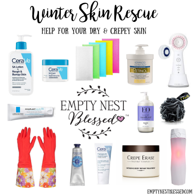 collage of helpful products for dry winter skin care