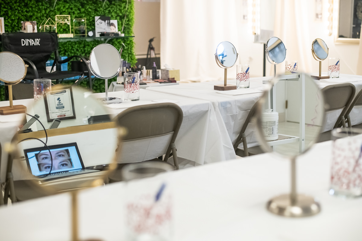 table set for makeup class