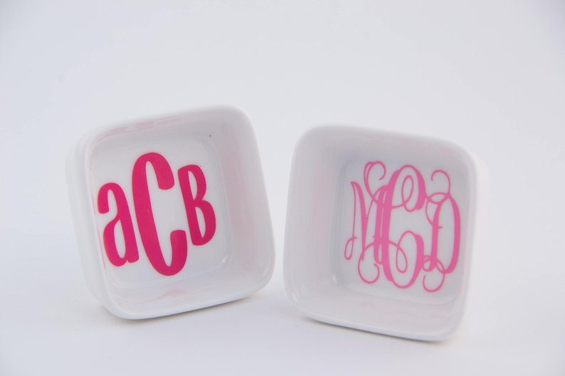two monogrammed ceramic jewelry holders