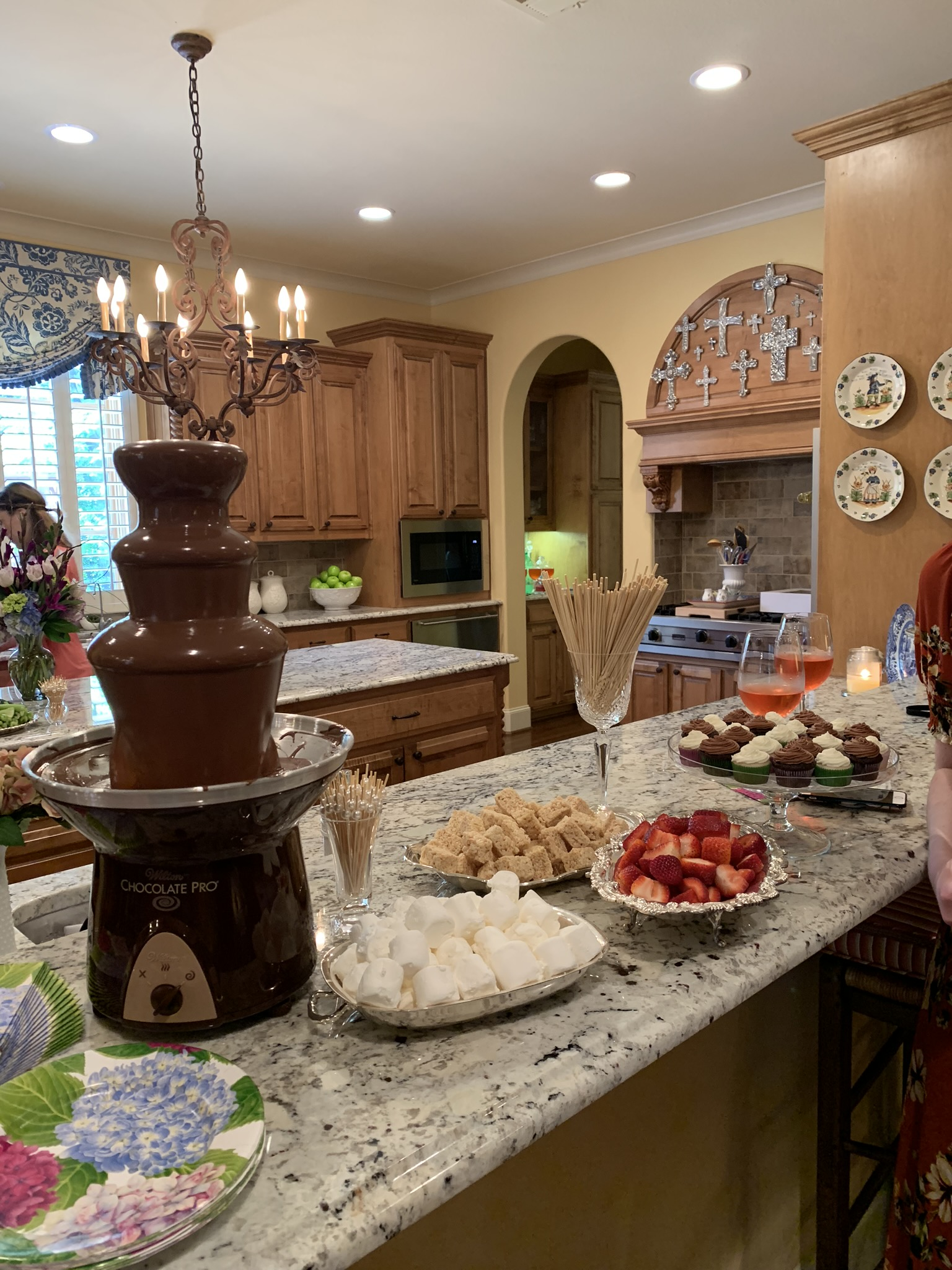 chocolate fountain and other food at a bridal shower