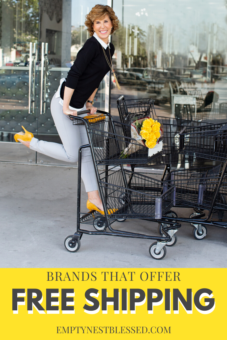 girl riding on the back of a shopping cart with text about free shipping