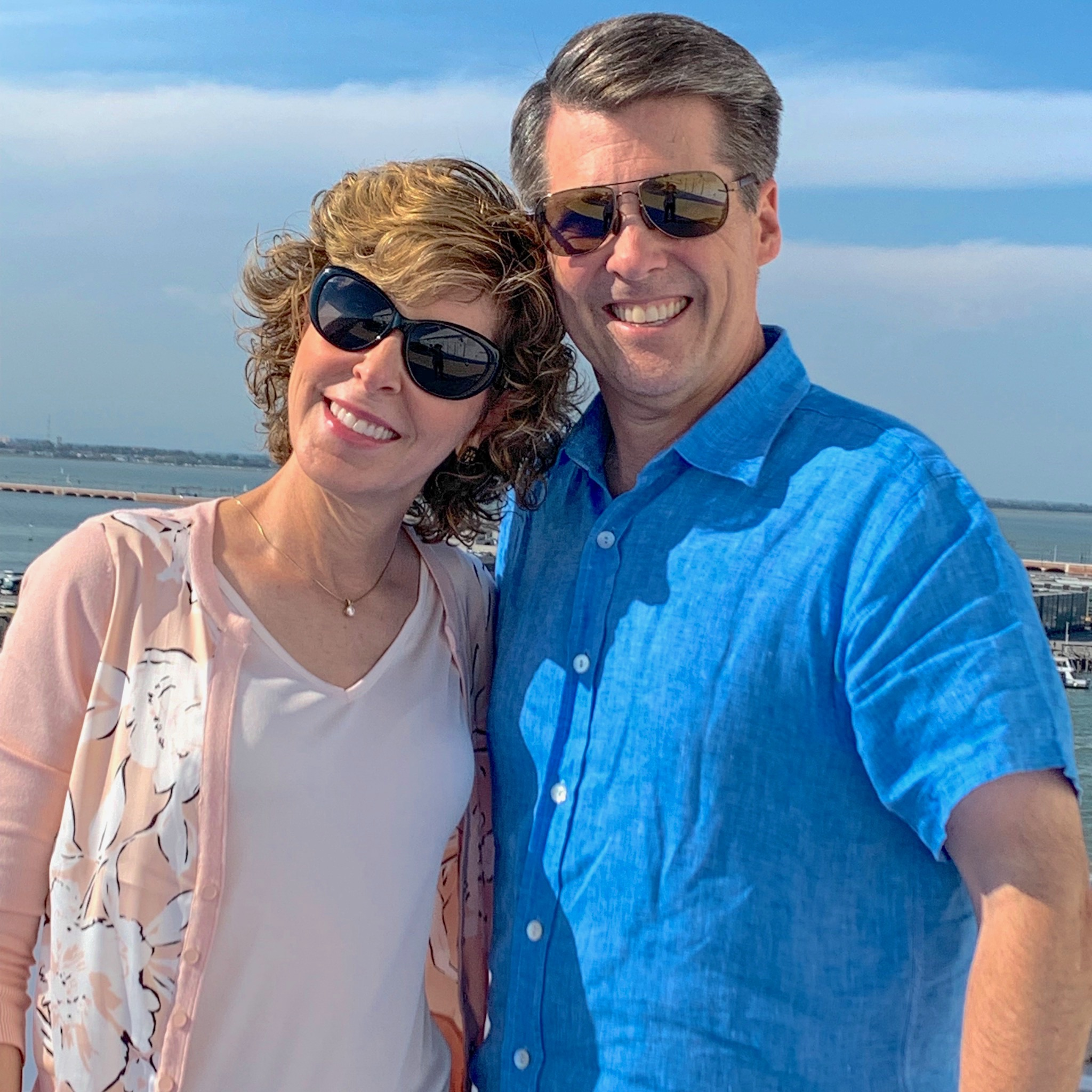 couple posing on cruise ship