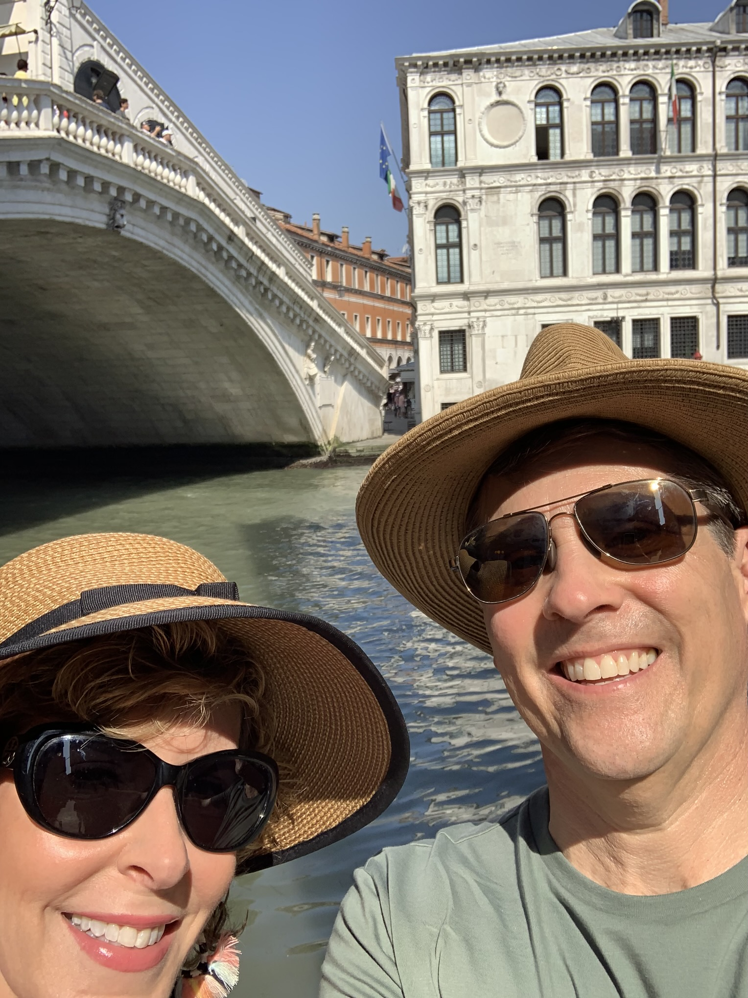 man and woman selfie in venice
