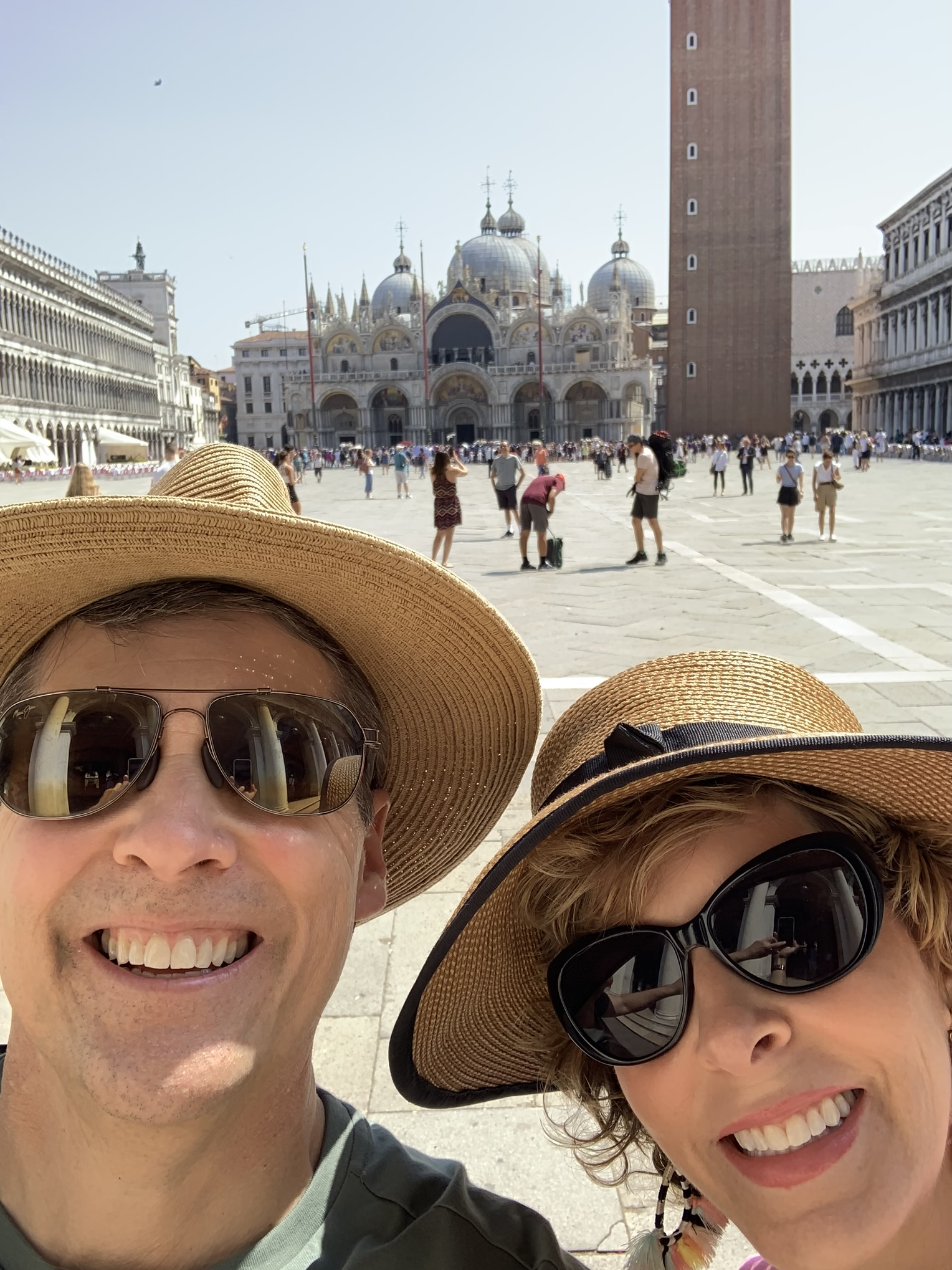 couple in a selfie at st marco square in venice