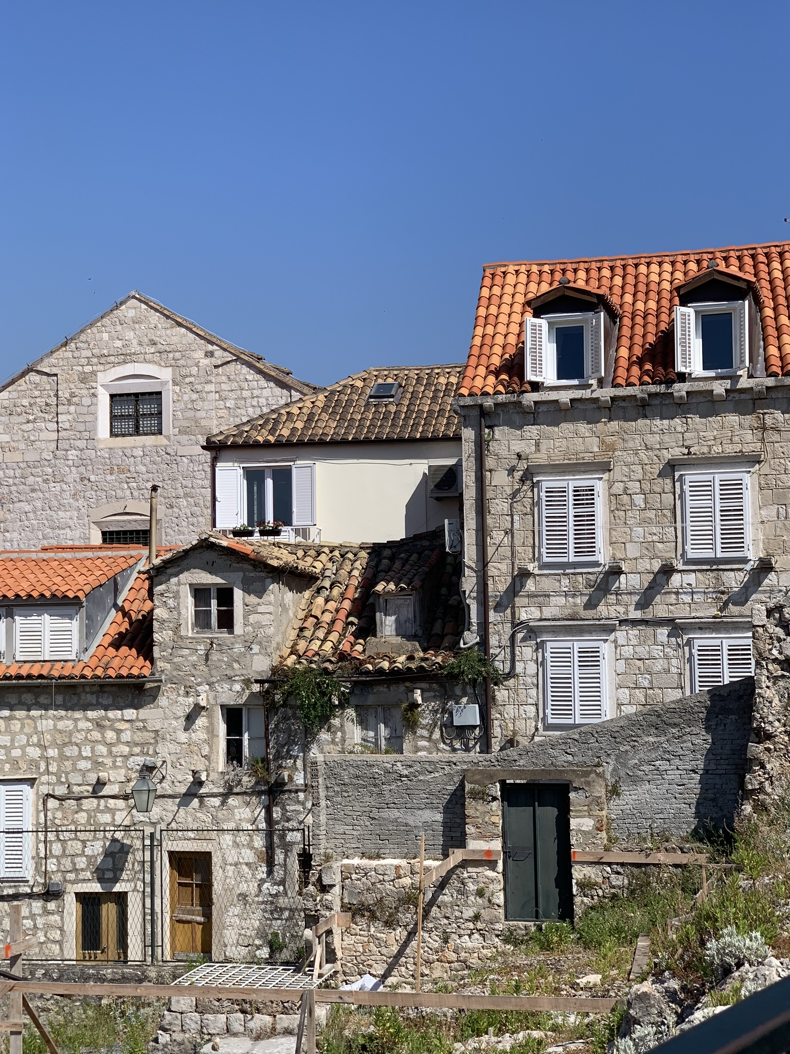 view of the roofs within the old town city walls in dubrovnik croatia