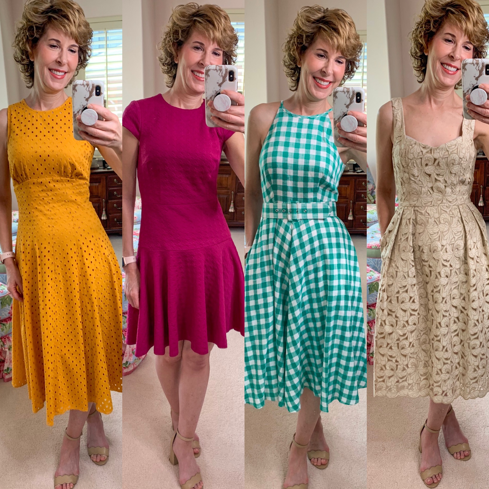 woman in four different dresses