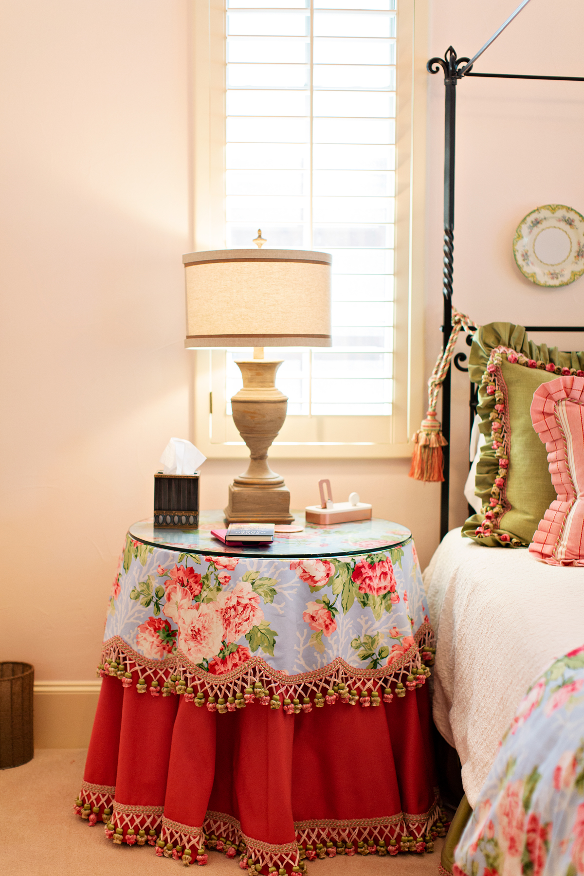 skirted bedside table