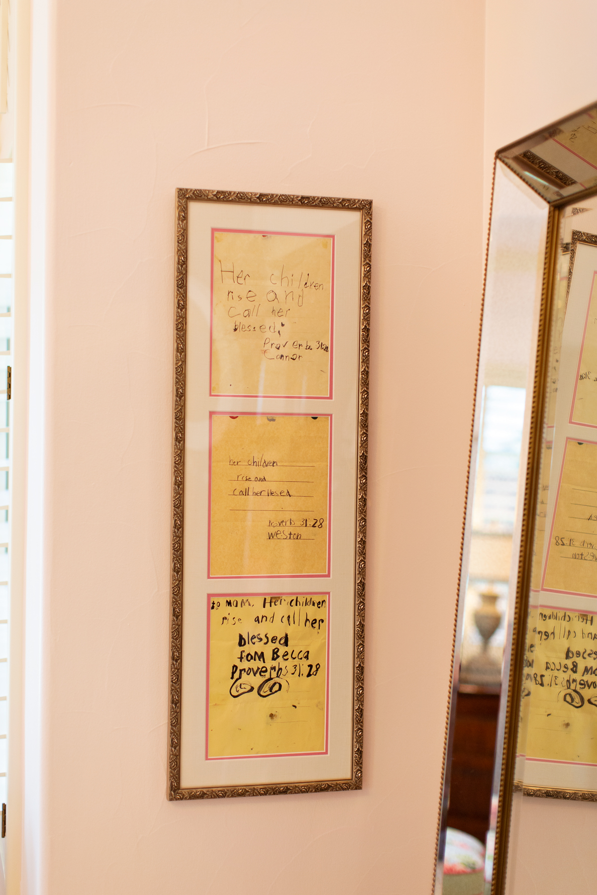 framed set of three bible verses handwritten