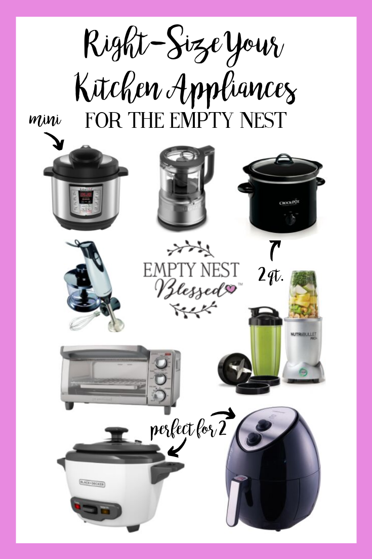 collage of small kitchen appliances for the empty nest