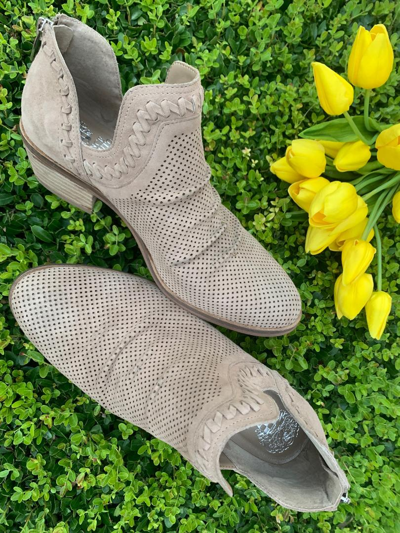 taupe exposed ankle women's booties