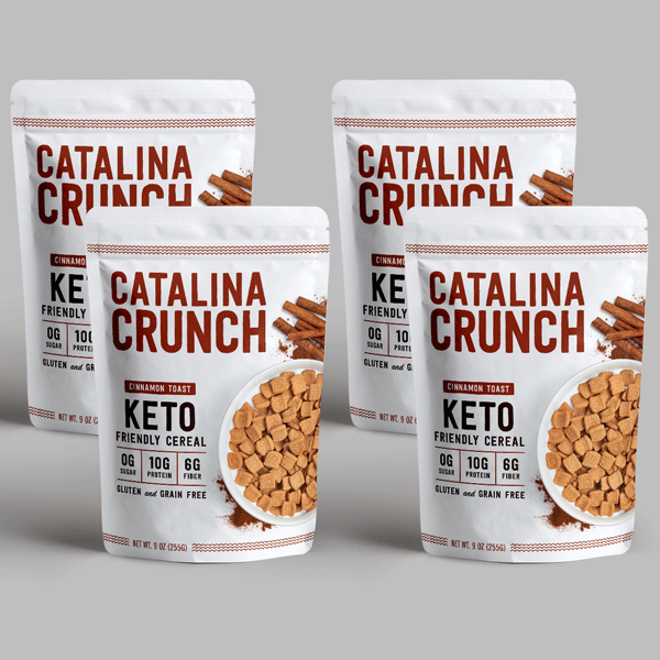 four bags of Catalina Crunch cereal