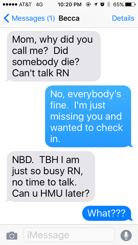 text message containing many abbreviations