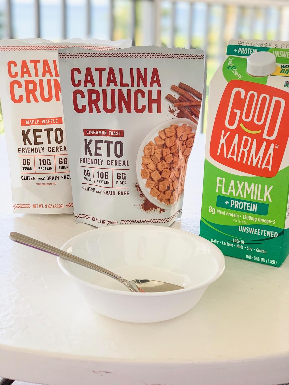 catalina crunch cereal on a table with good karma flaxmilk