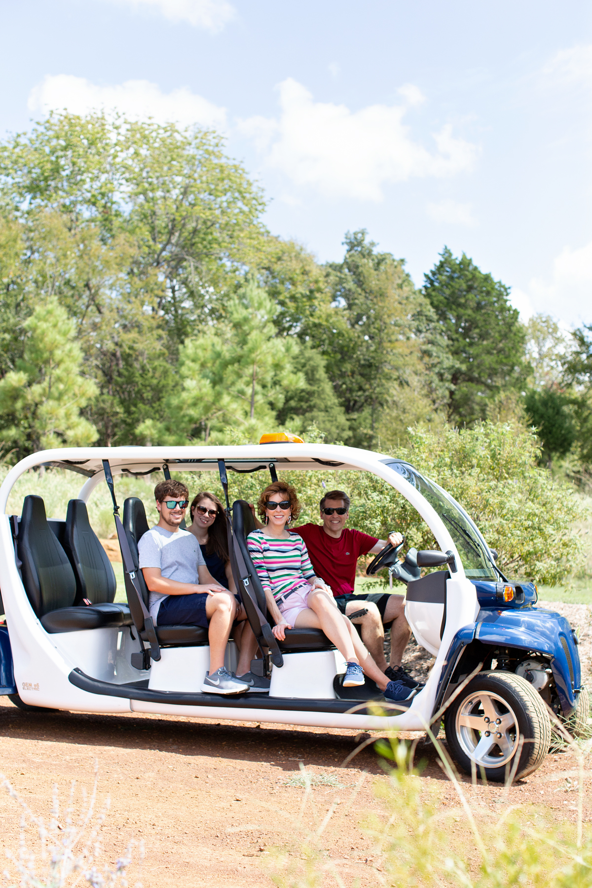 four adults in a luxury golf cart at long cove