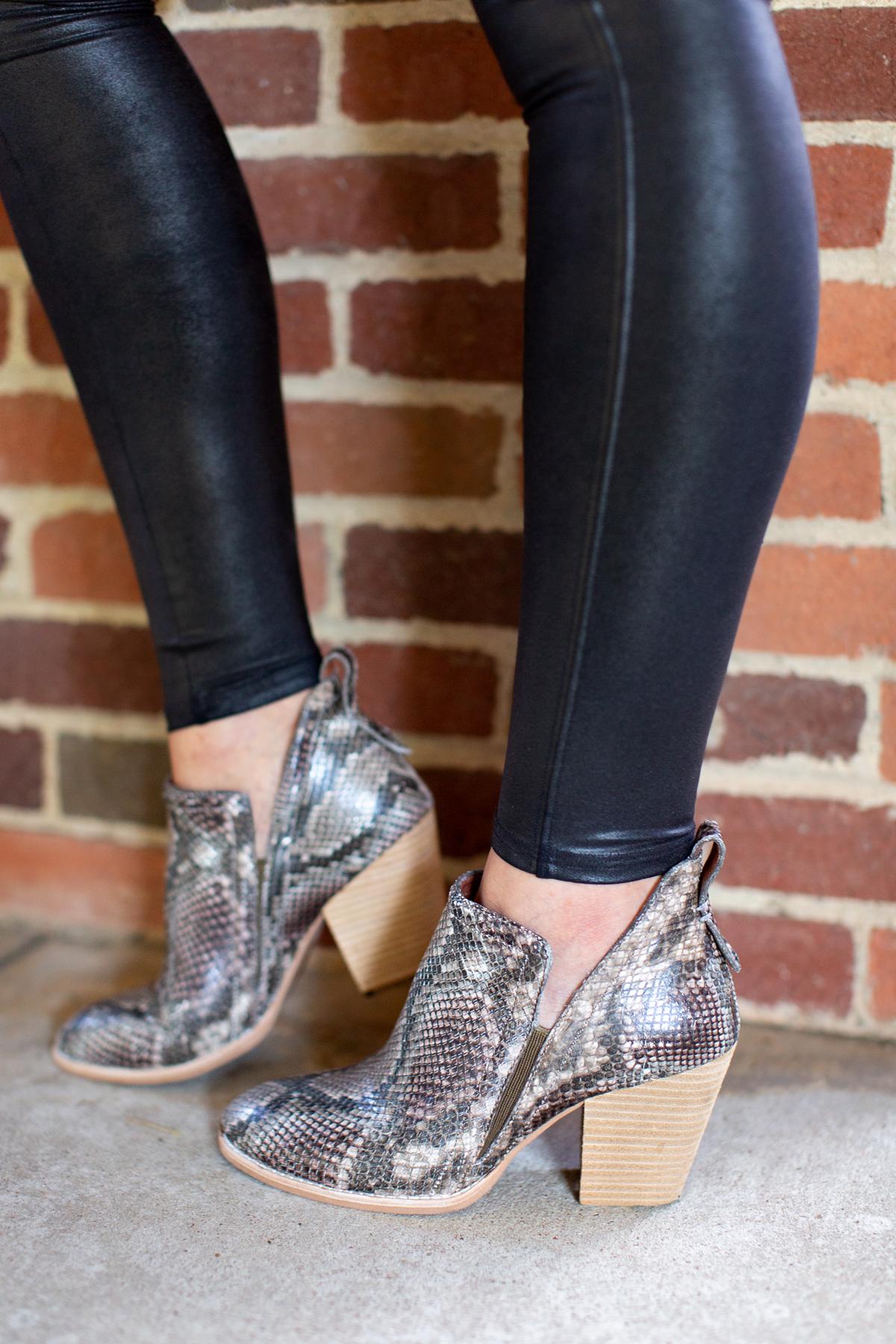 womens snake print booties