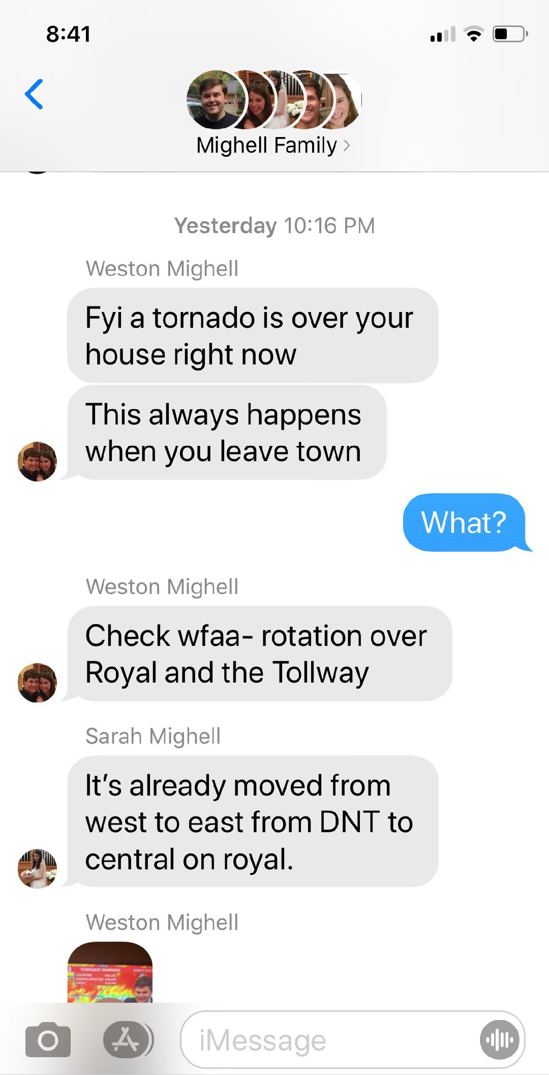 screenshot of a text message