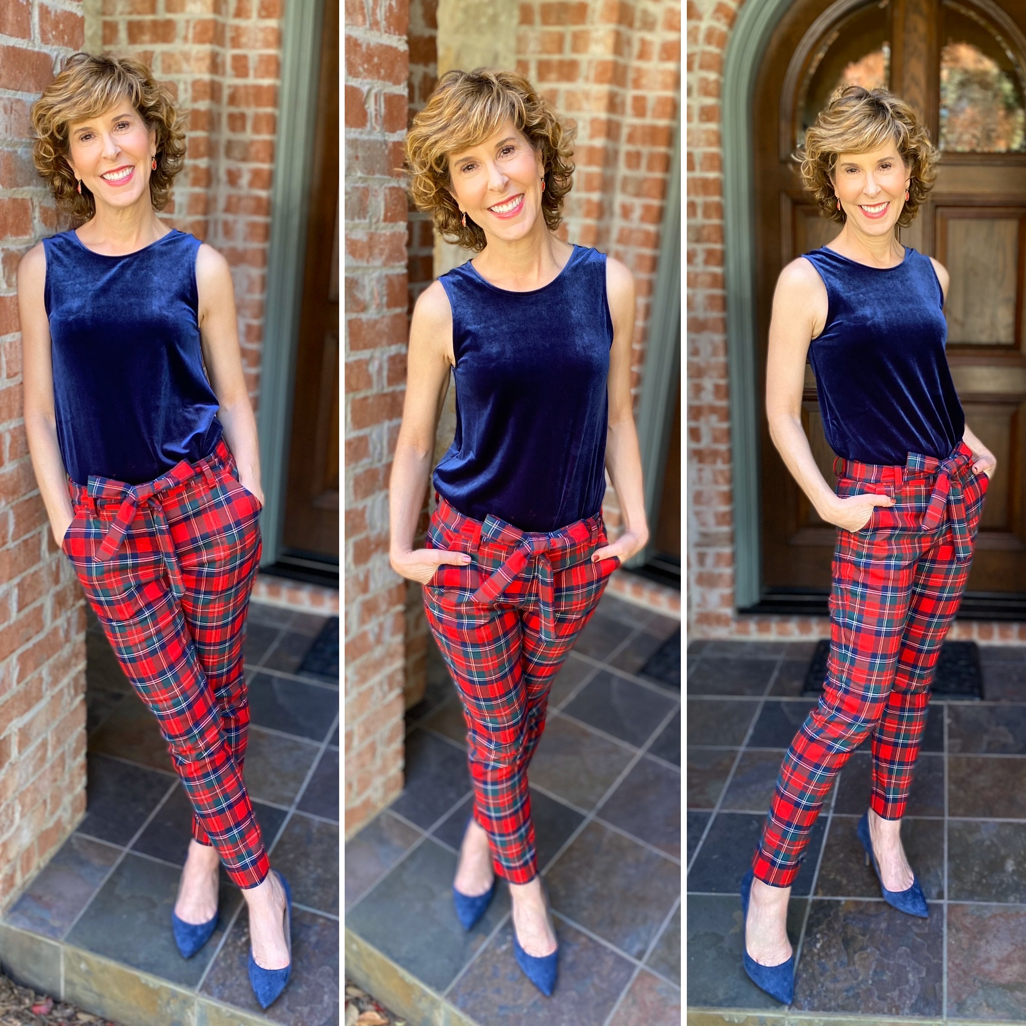 3 photo collage of woman wearing a blue velvet tank and plaid pants holiday party look