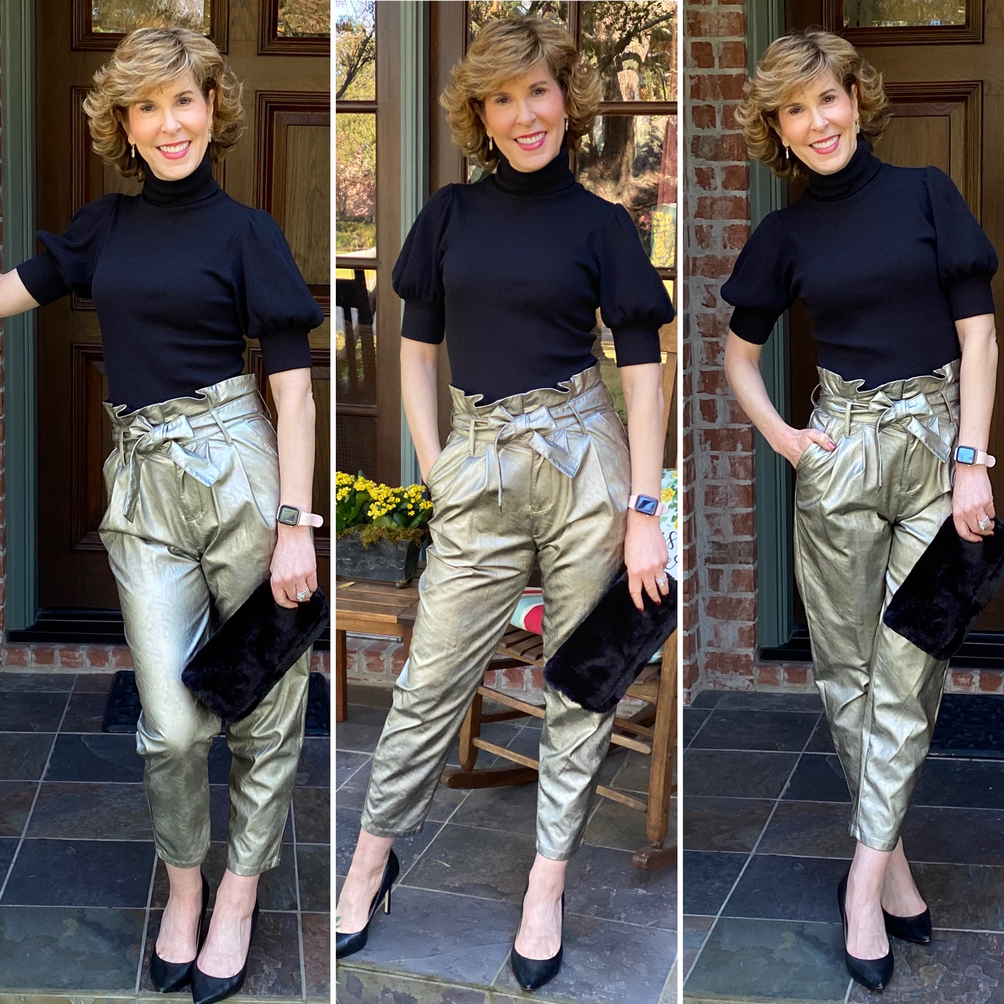 3 photo collage of woman wearing short sleeve black turtleneck and metallic pants in front of a door
