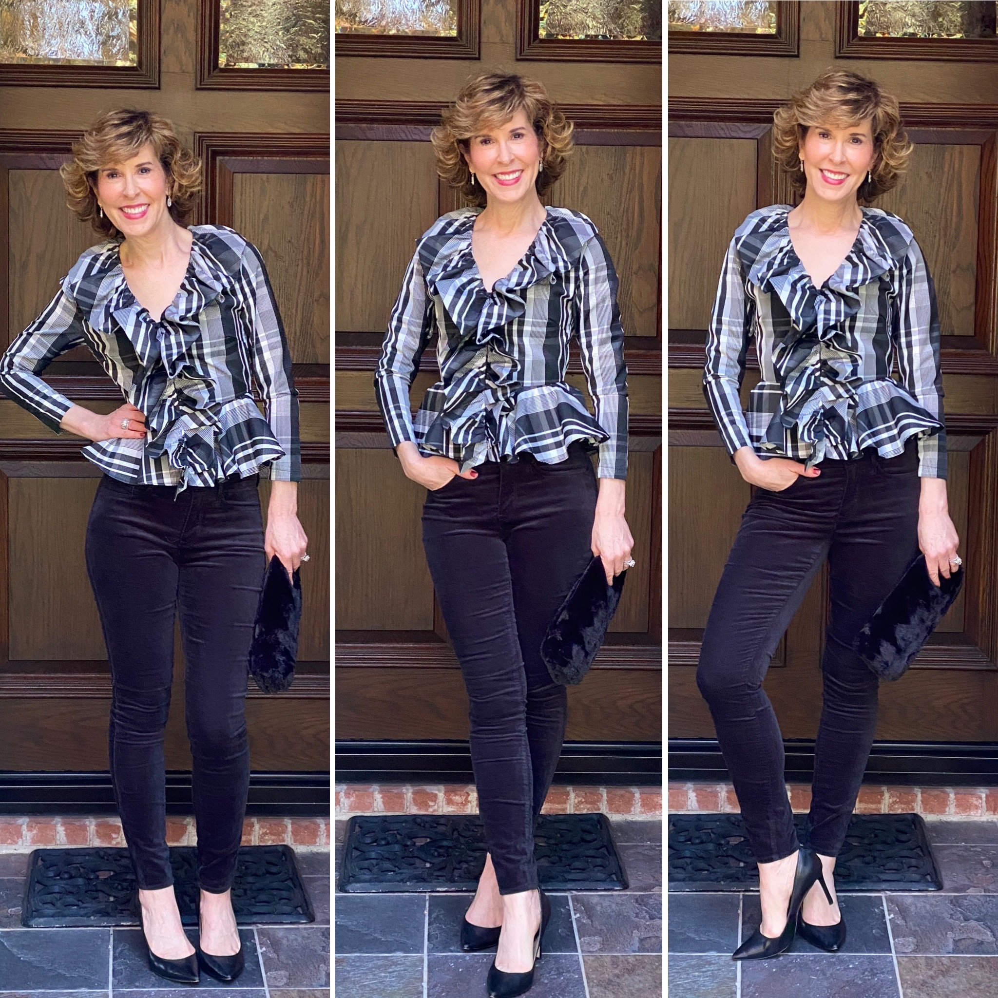 3 photo collage of woman wearing black velvet jeans and black and white plaid ruffled top holiday party look