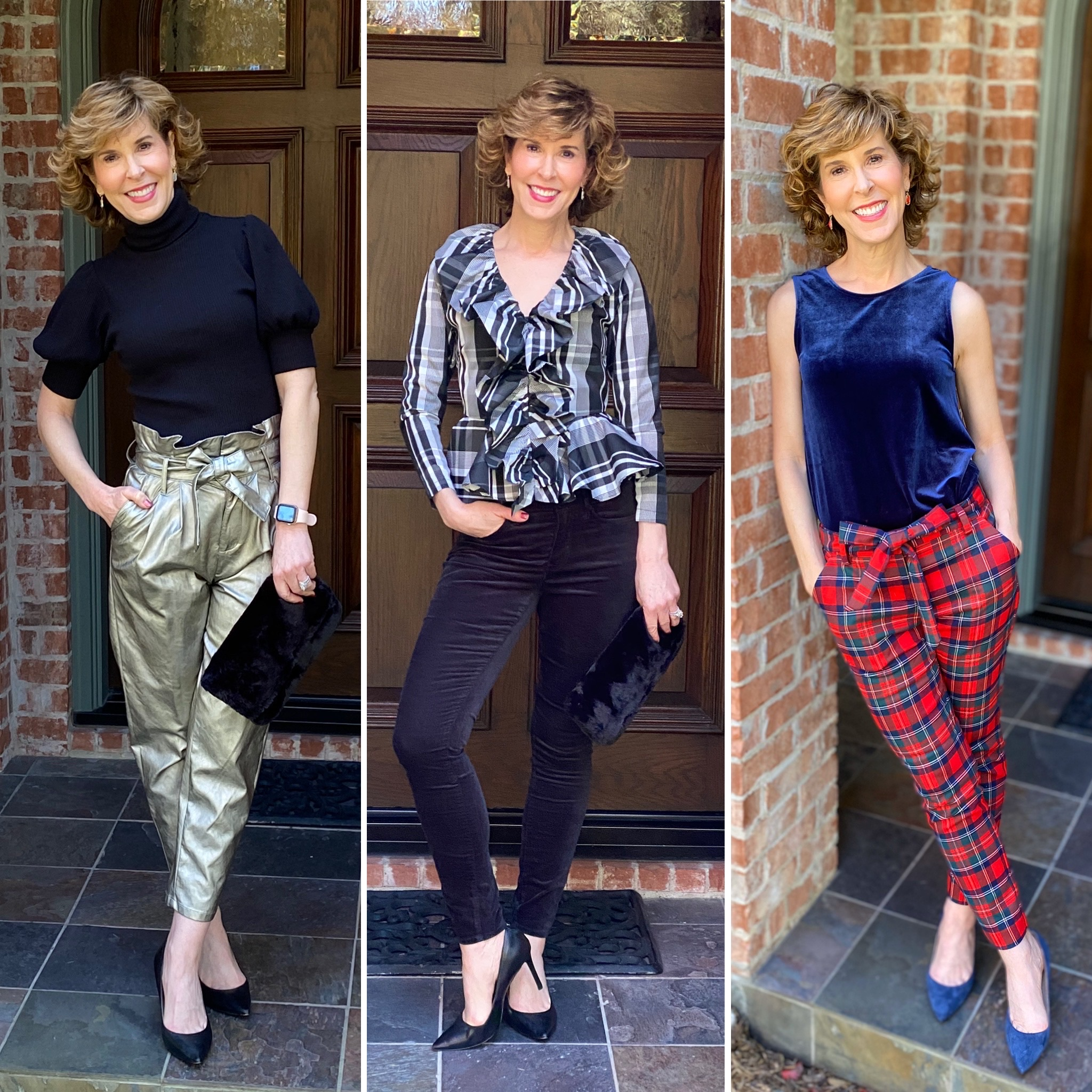 3 photo collage of woman wearing three different holiday party looks