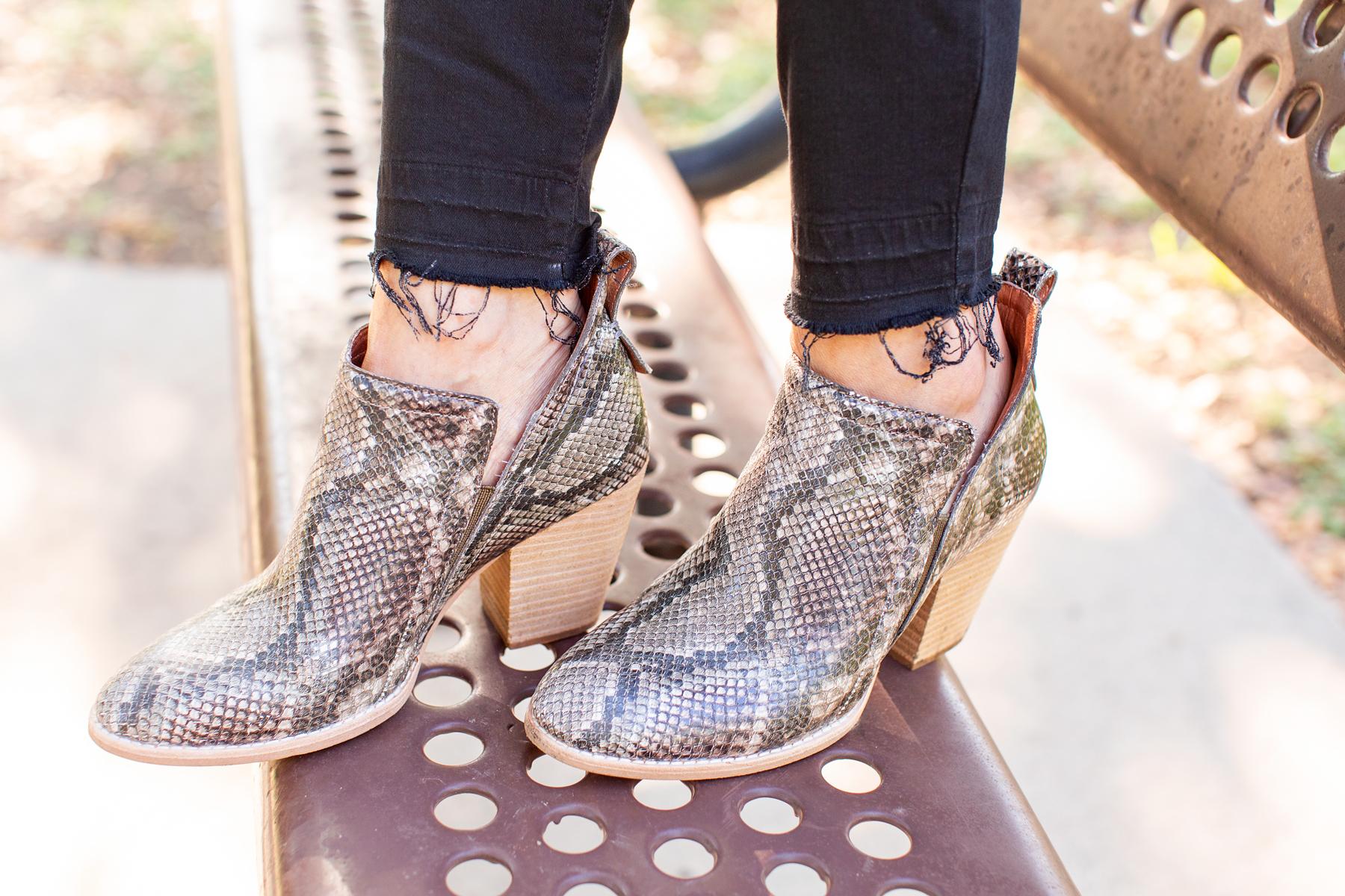 women's snakeskin print booties