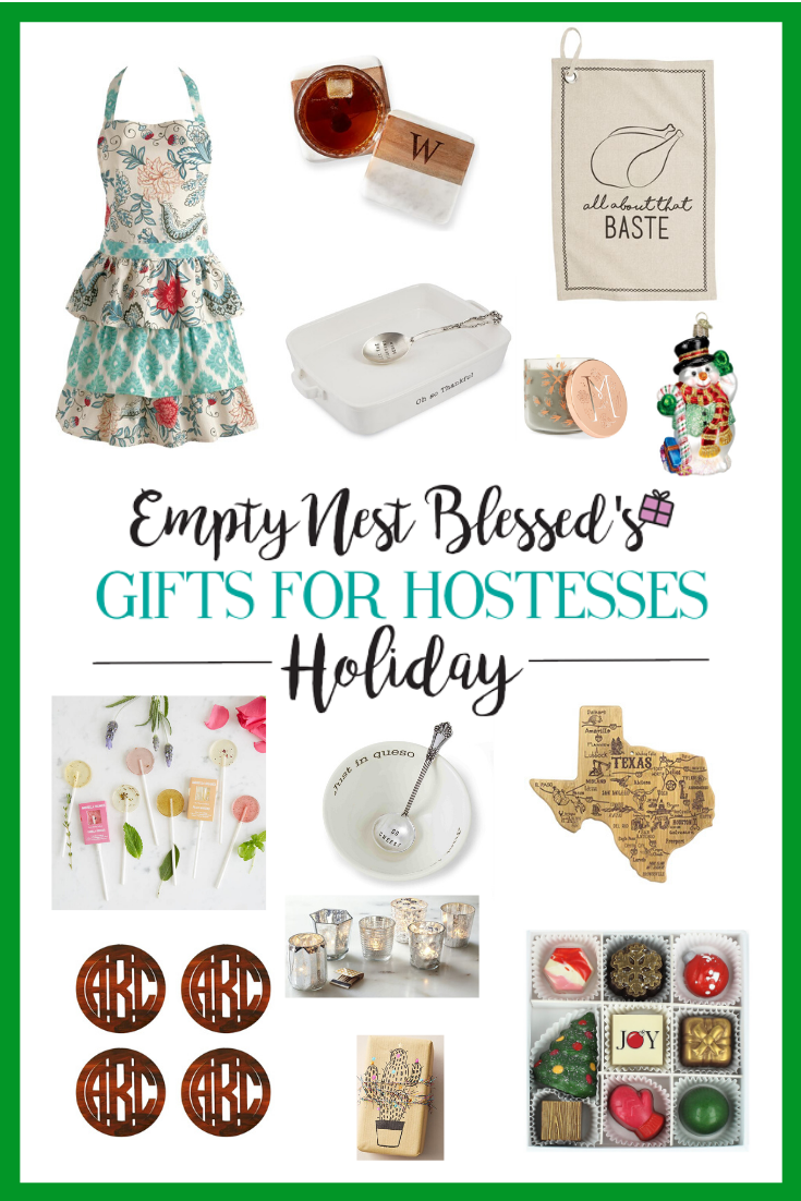 collage of gift ideas with green border