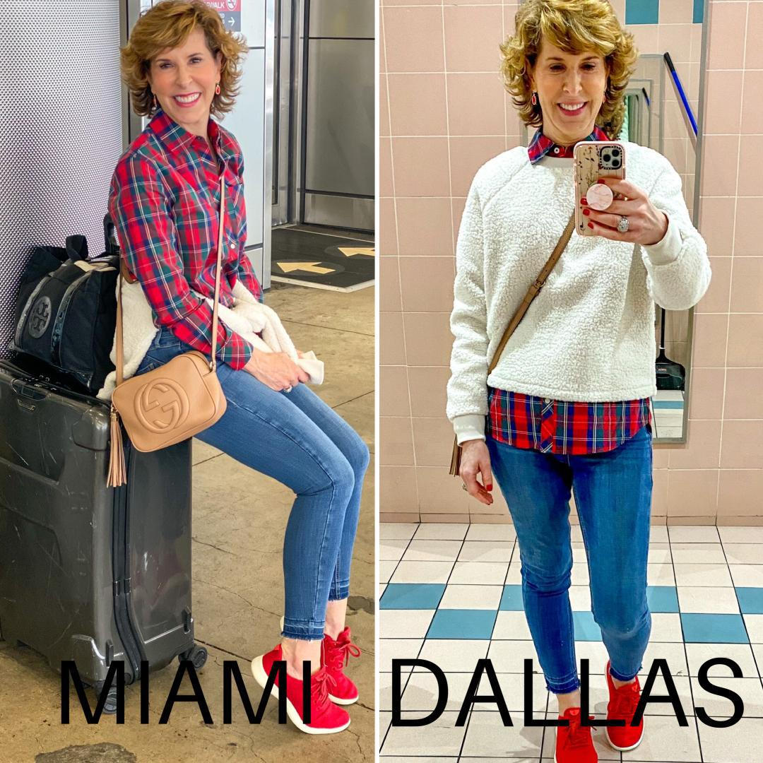 two photo collage of woman wearing travel looks