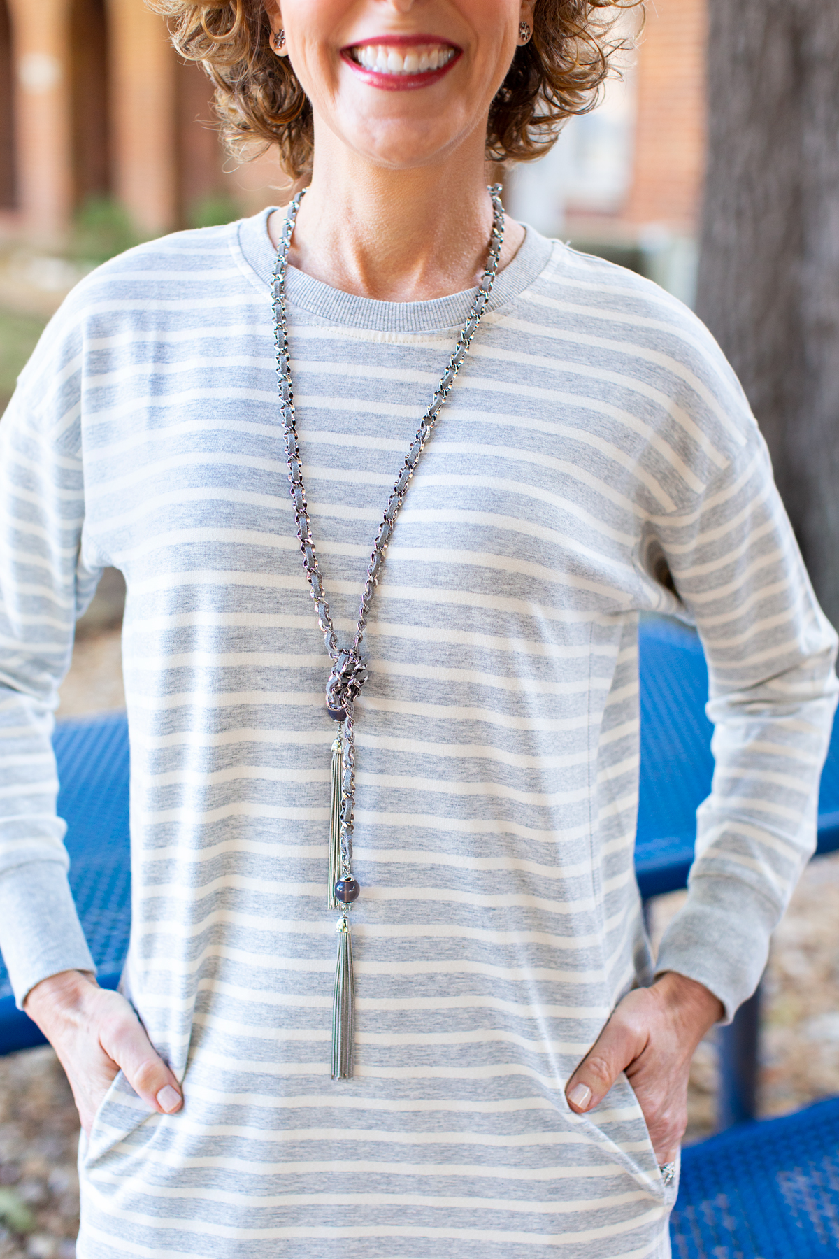 woman wearing mercury gray whbm necklace