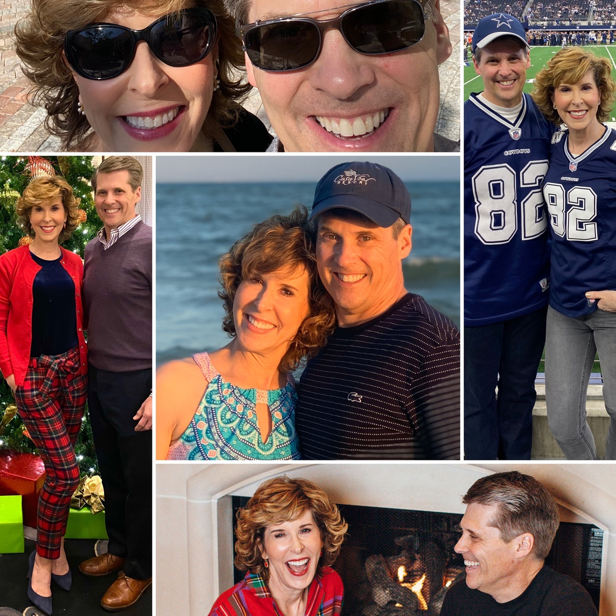 collage featuring photos of a married couple at various events