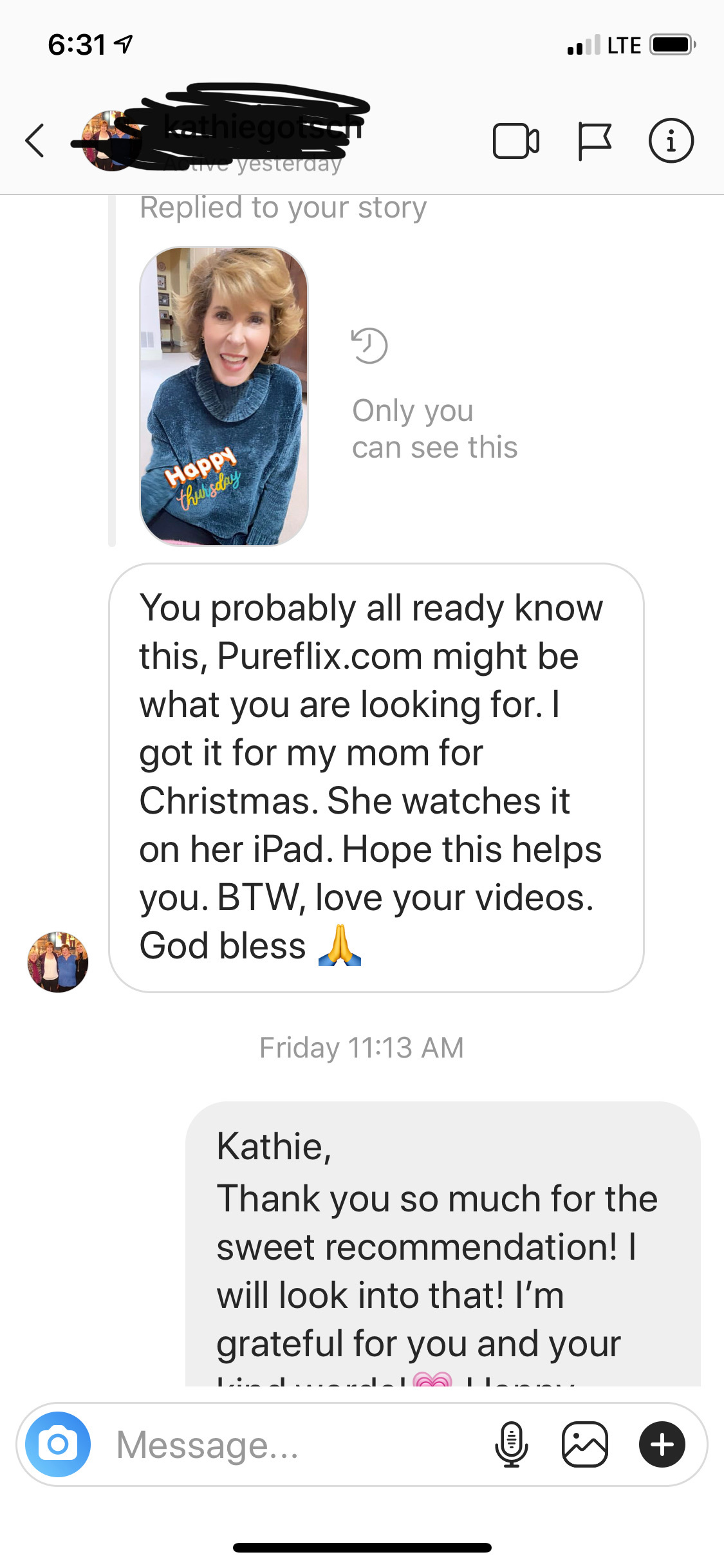 dm from follower about pureflix