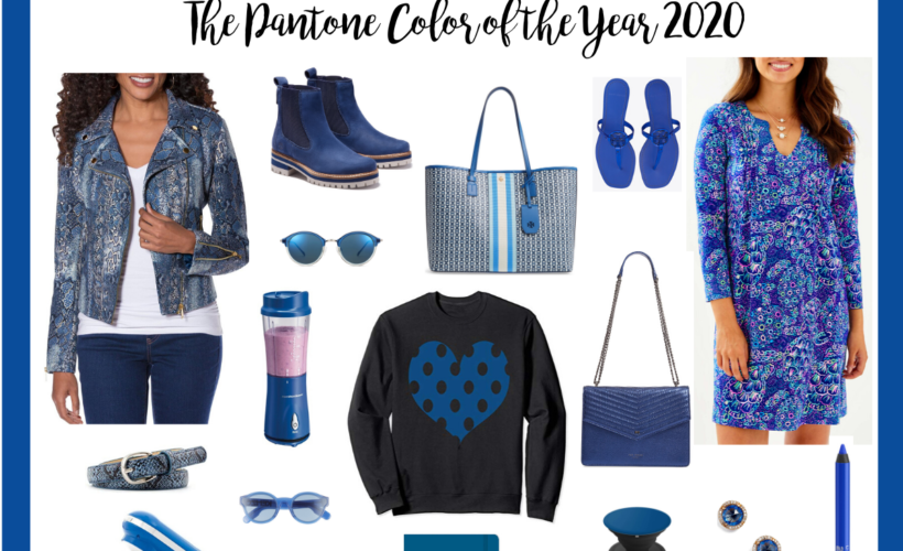 collage of classic blue fashion tech decor products
