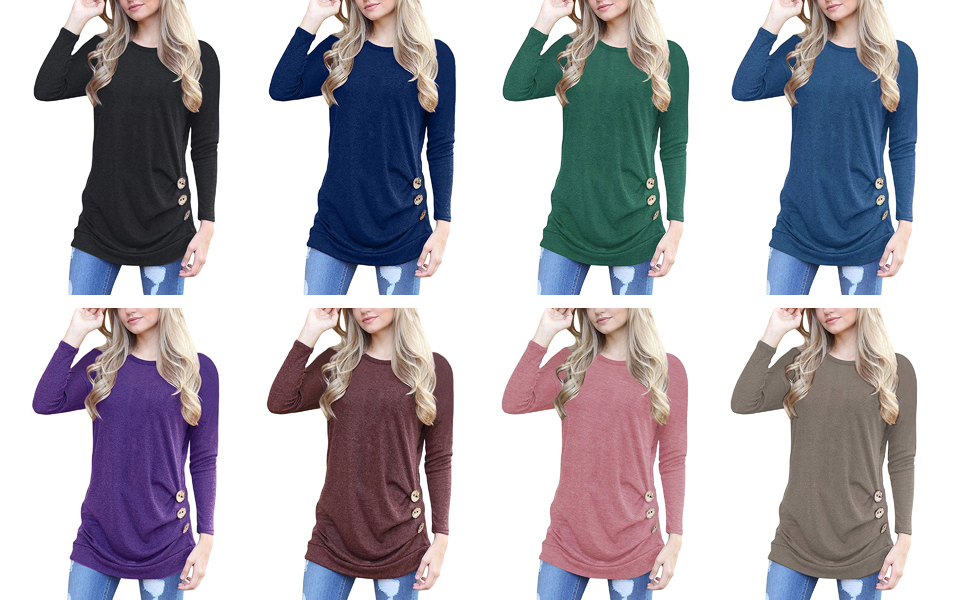 variety of colorful tunic tees