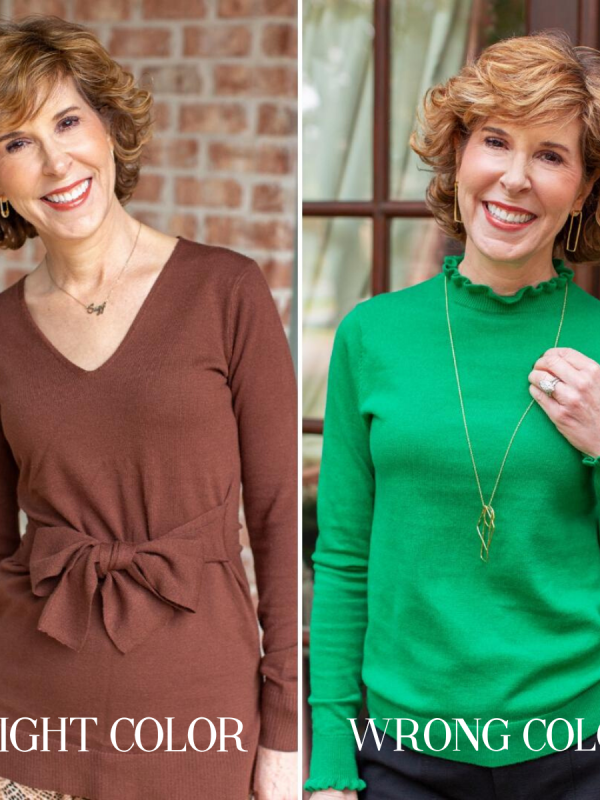 woman in brown sweater and in green sweater
