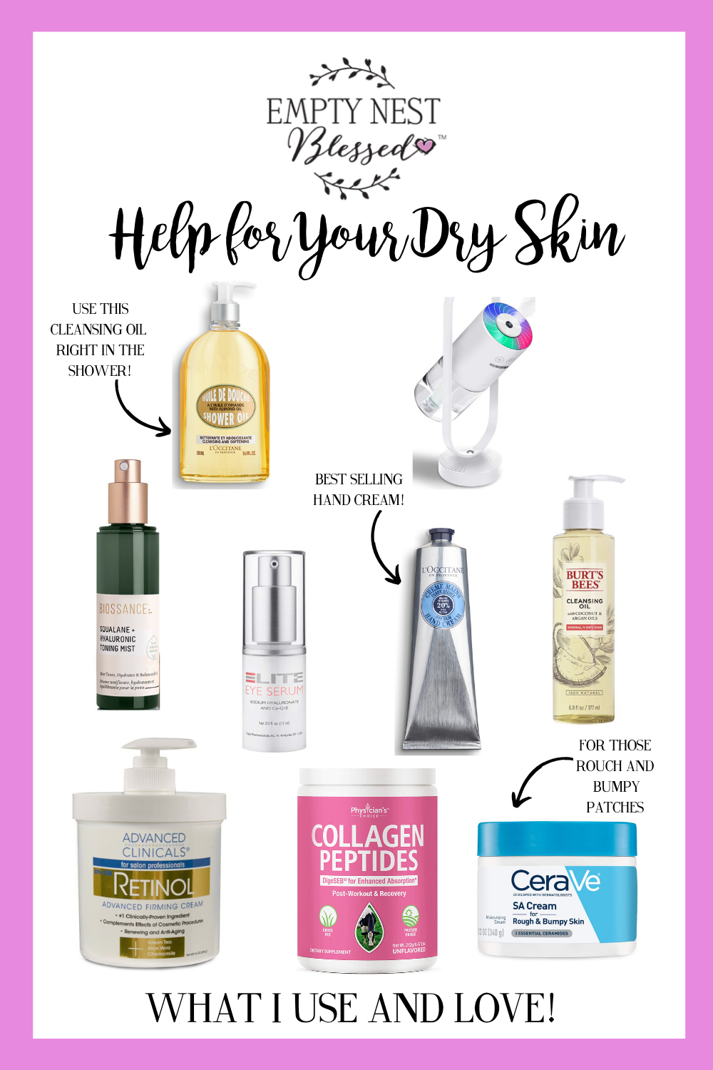 collage of products for dry skin
