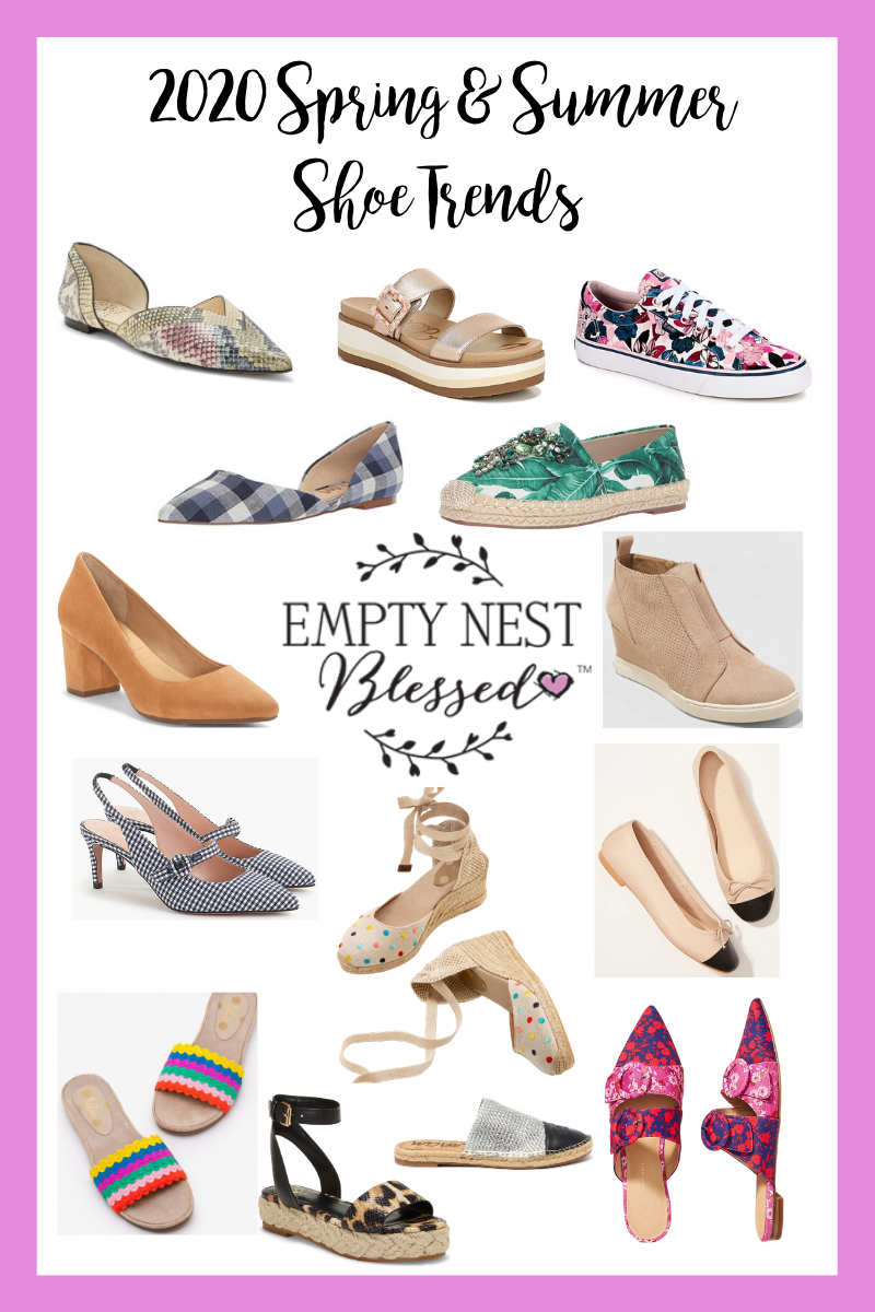 collage of spring summer shoe trends