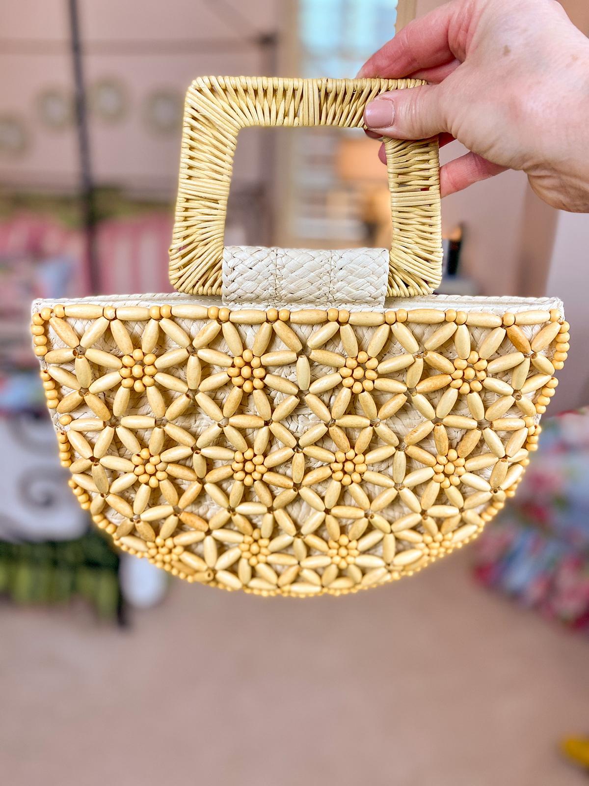 beaded yellow rattan handbag