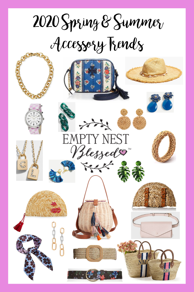 collage of spring and summer accessory trends