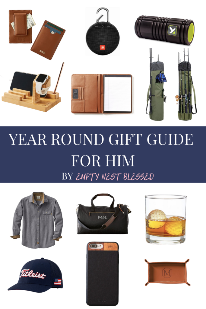 collage of year-round gift ideas for him