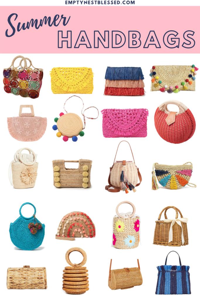 collage of summer handbags