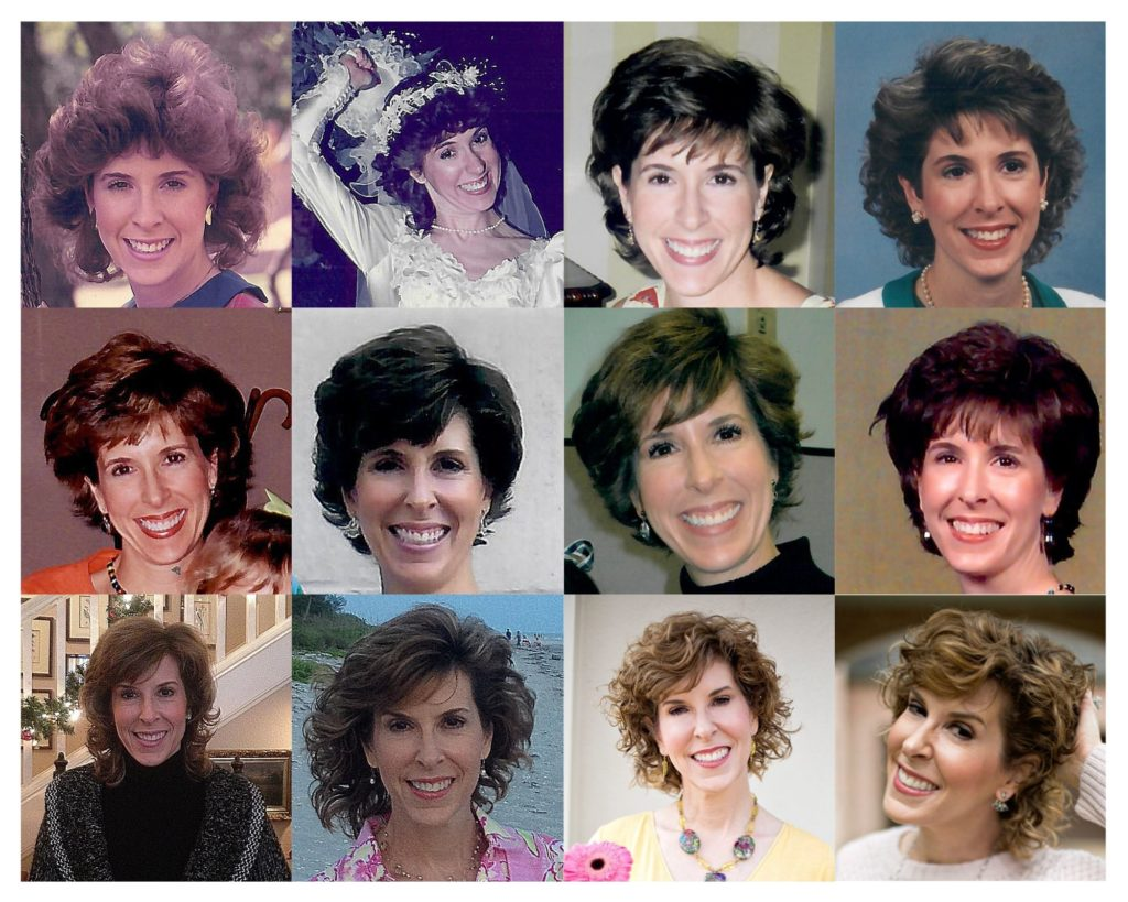 collage of woman over 50's hair through the years