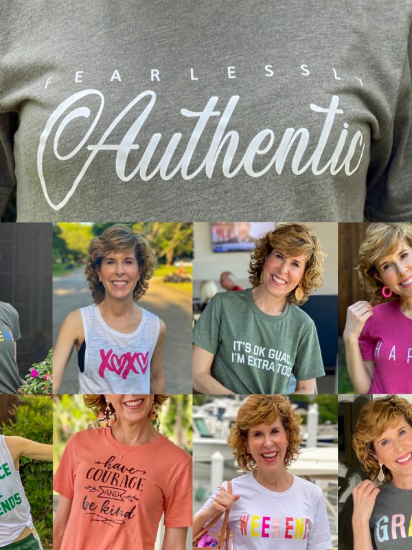 collage of woman wearing graphic tees